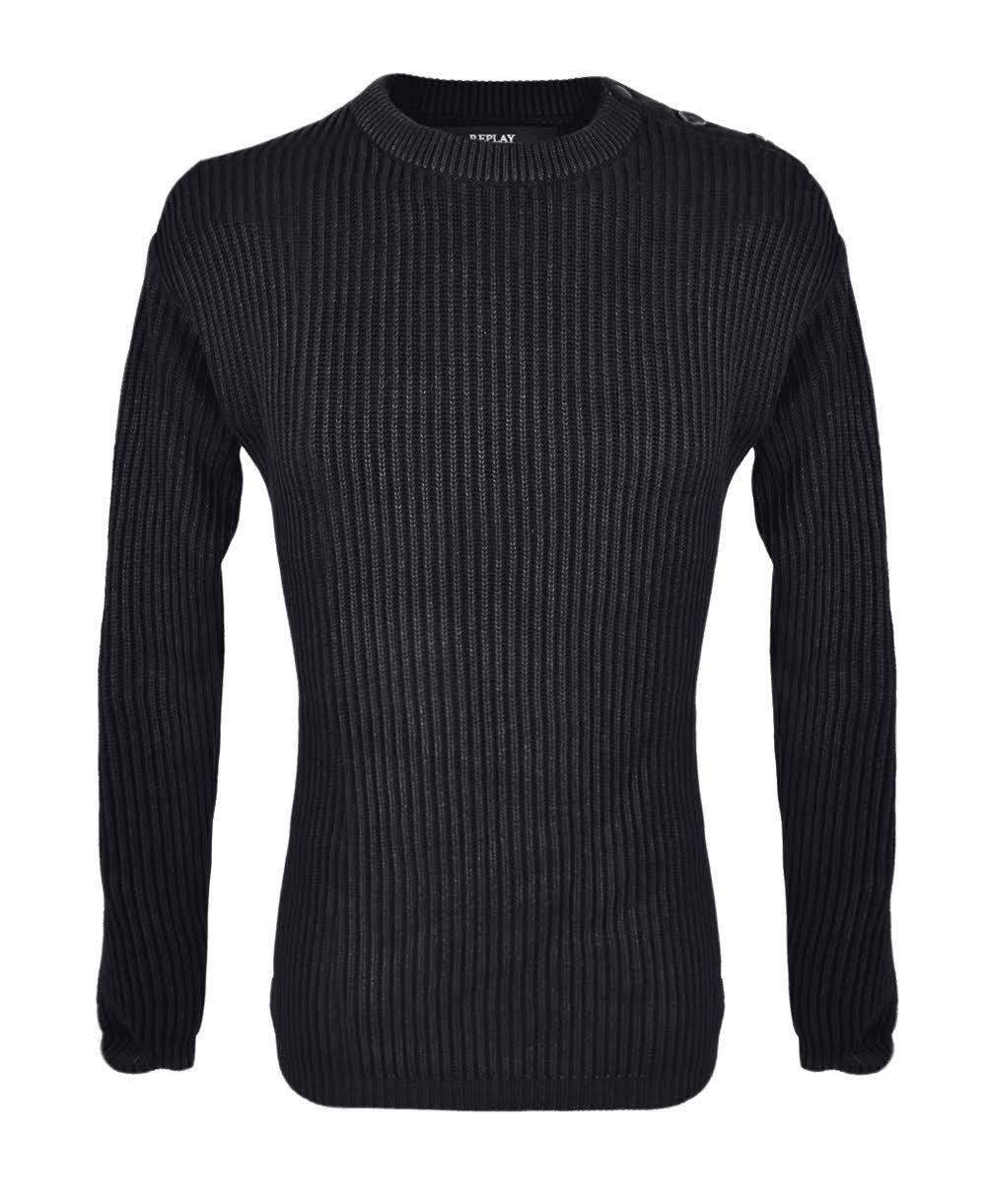 Replay Fisherman Style Loose Fit Jumper in Black