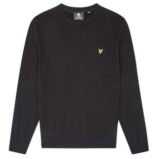 Lyle & Scott Cotton Merino Crew Neck Jumper in Black