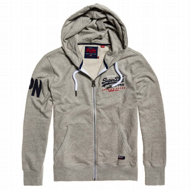 Superdry Premium Goods Tri Lite Weight Ziphood in Varsity Grey Grit Hoodies Superdry