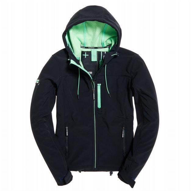Ladies Superdry Hooded SD Windtrekker in Midnight / Peppermint