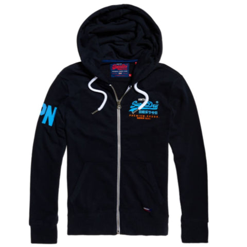 Superdry Premium Goods Tri Lite Weight Ziphood in Eclipse Navy Hoodies Superdry