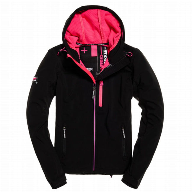 Ladies Superdry Hooded SD Windtrekker in Black / Hot Pink