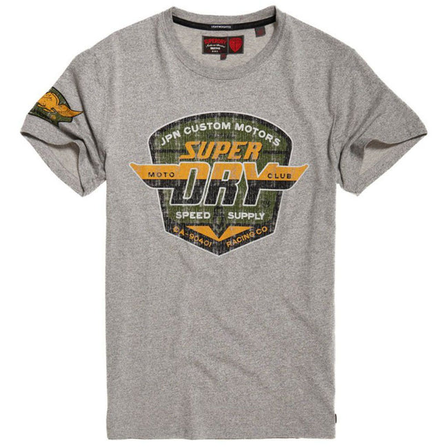 Superdry Custom Tin Tab Lite Tee in Varsity Grey Grit