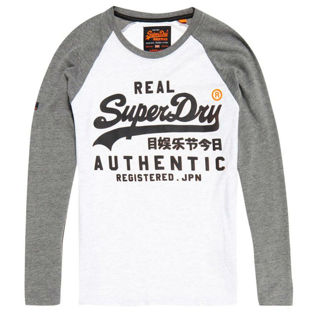 Superdry Vintage Logo Panel Raglan Long Sleeve Tee in Grey Marl