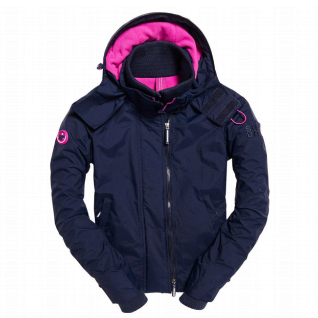 Ladies Superdry Artic Hood Popzip Windcheater in Ink Navy / Light Orchid