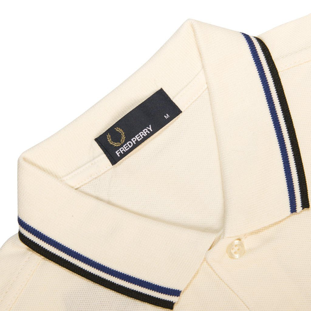 Fred Perry M3600 Twin Tipped Polo Shirt in Off White / Royal Blue / Black