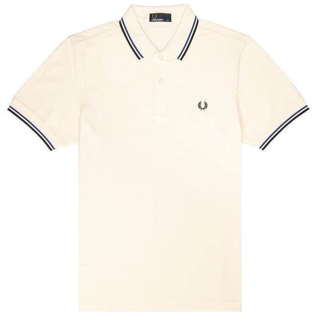 Fred Perry M3600 Twin Tipped Polo Shirt in Off White / Royal Blue / Black Polo Shirts Fred Perry