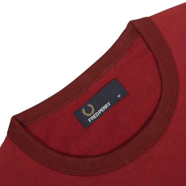 Fred Perry M3519 Ringer Tee in Rich Red