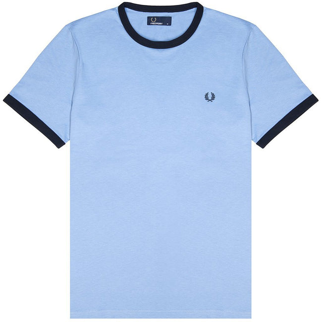 Fred Perry M3519 Ringer Tee in Sky Blue