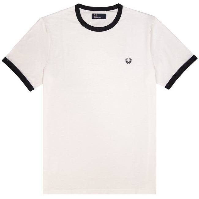 Fred Perry M3519 Ringer Tee in Snow White