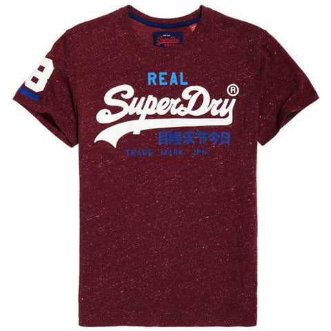 Superdry Vintage Logo Tri Colour Tee in Burgundy Snowy T-Shirts Superdry