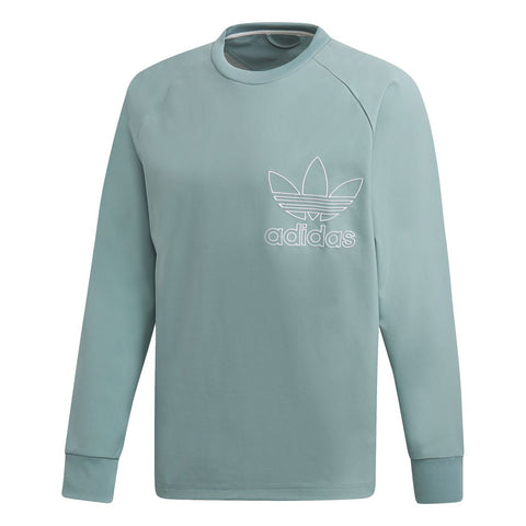 Adidas Outline DX3864 Crew Sweatshirt in Mint Green / White Jumpers adidas