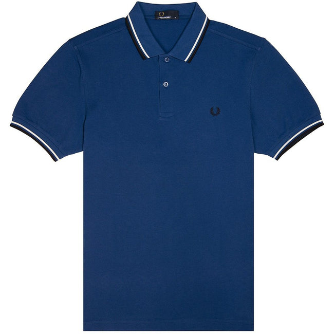 Fred Perry M3600 Twin Tipped Polo Shirt in Royal Blue / Snow White / Navy