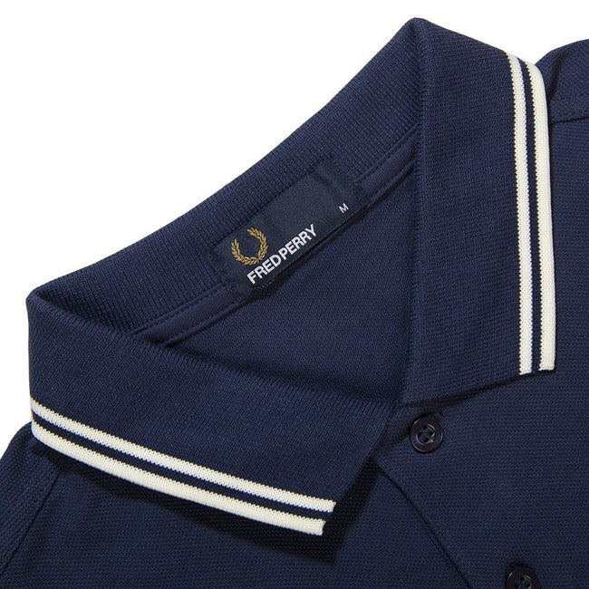 Fred Perry M3600 Twin Tipped Polo Shirt in Phantom Navy / White