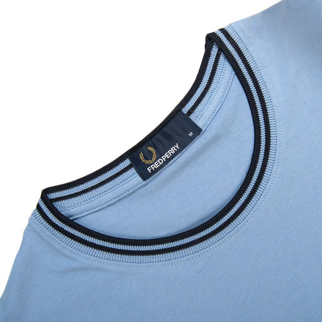 Fred Perry M1588 Twin Tipped Tee in Sky Blue / Navy