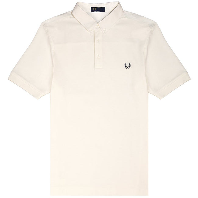 Fred Perry M4541 Oxford Trim Pique Polo Shirt in Snow White Polo Shirts Fred Perry