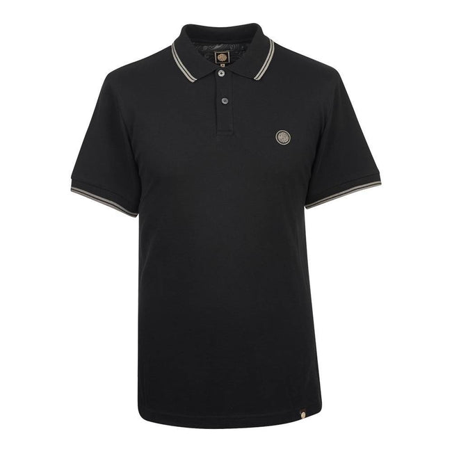 Pretty Green Tipped Pique Polo Shirt in Black