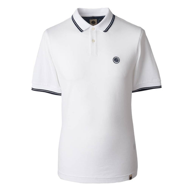 PRETTY GREEN TIPPED PIQUE POLO SHIRT IN White / Navy