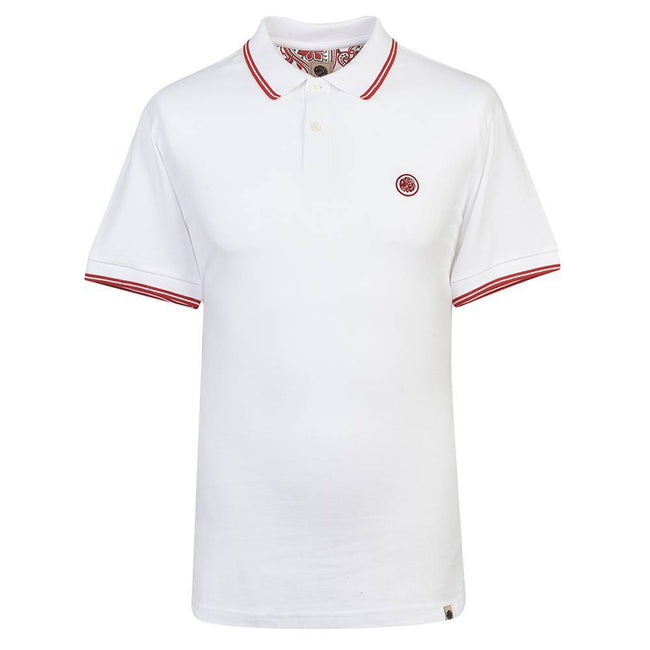 PRETTY GREEN TIPPED PIQUE POLO SHIRT IN WHITE / RED