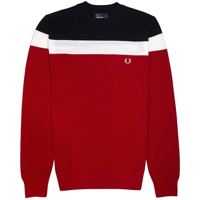Fred Perry Colour Block Crew Neck Jumper in Winter Red