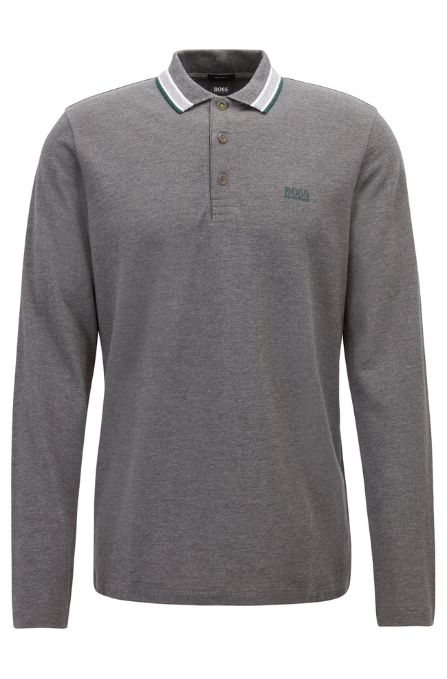 BOSS Athleisure Plisy Long Sleeved Polo Shirt in Grey