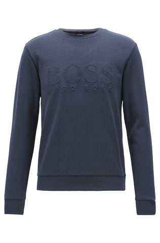 BOSS Athleisure Salbo Crew Neck Sweatshirt in Navy