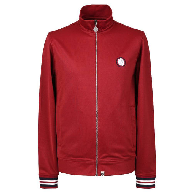 Pretty Green Rib Side Stripe Track Top in Red
