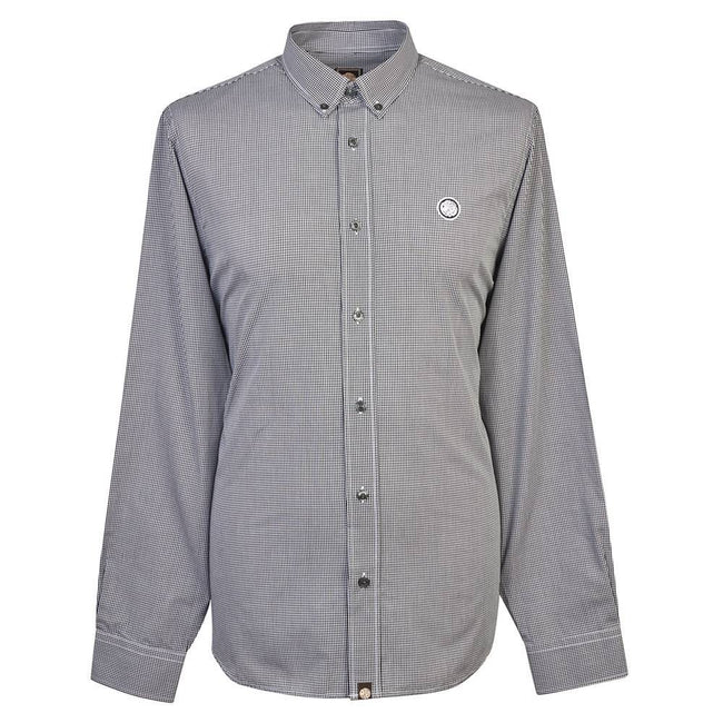 Pretty Green Hendry Classic Fit Gingham Shirt in Black