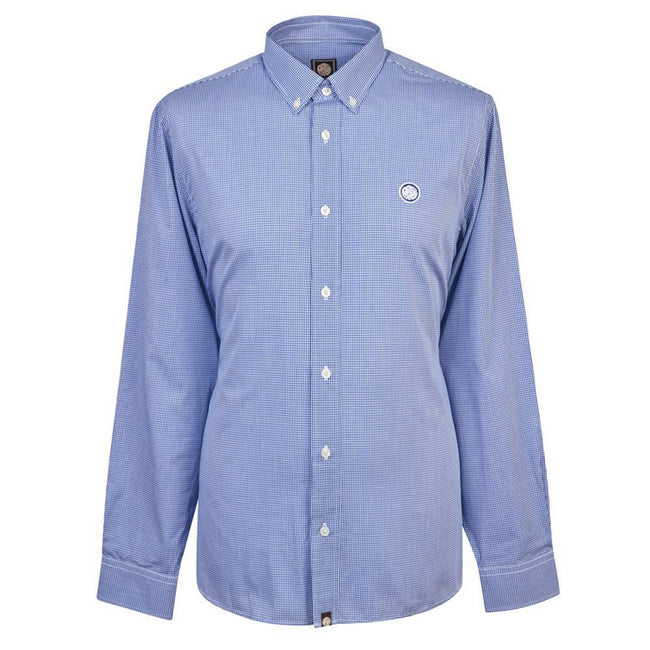 Pretty Green Hendry Classic Fit Gingham Shirt in Blue