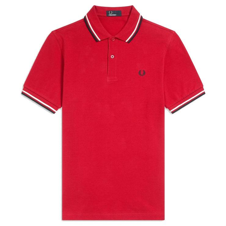 Fred Perry M3600 Twin Tipped Polo Shirt in Winter Red