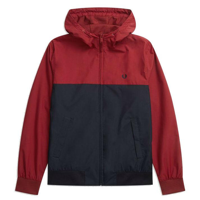 Fred Perry J5515 Hooded Panelled Brentham Jacket in Rich Red