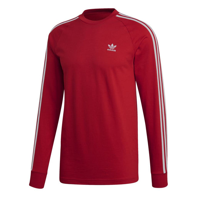 Adidas 3 Stripe Long Sleeved Tee DV1558 in Power Red T-Shirts adidas