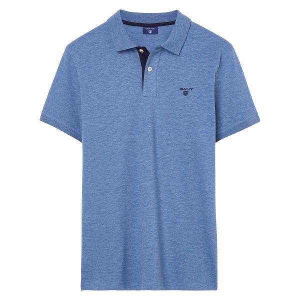 Gant Contrast Collar Pique SS Rugger Polo in Denim Blue Melange