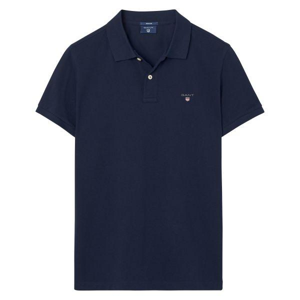Gant The Original Pique SS Rugger Polo in Evening Blue Polo Shirts Gant