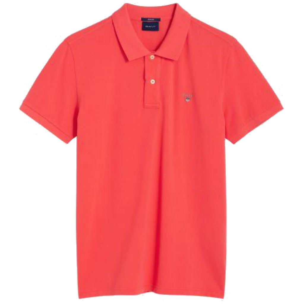 Gant The Original Pique SS Rugger Polo in Watermelon Red