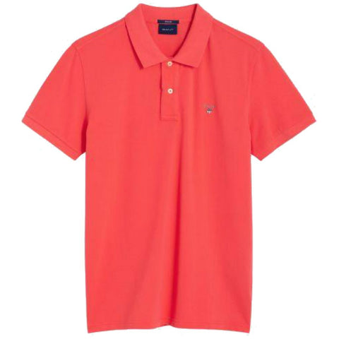 Gant The Original Pique SS Rugger Polo in Watermelon Red Polo Shirts Gant