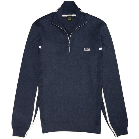 BOSS Athleisure Zanja 1/4 Zip in Navy Jumpers BOSS