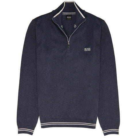 BOSS Athleisure Zimex Cotton Blend 1/4 Zip in Navy/Grey Jumpers BOSS