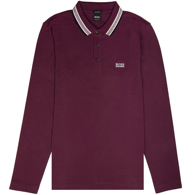 BOSS Athleisure Plisy Long Sleeved Polo Shirt in Purple