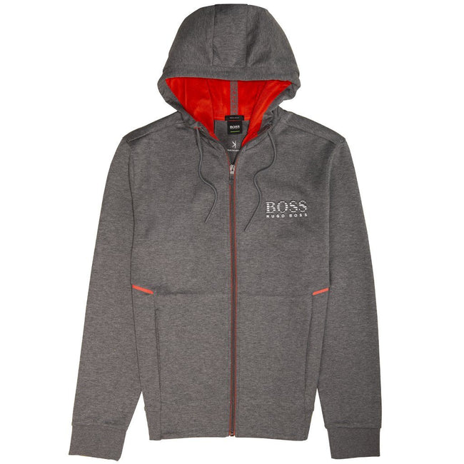 BOSS Athleisure Saggy Full Zip Hooded Sweatshirt in Grey Hoodies BOSS