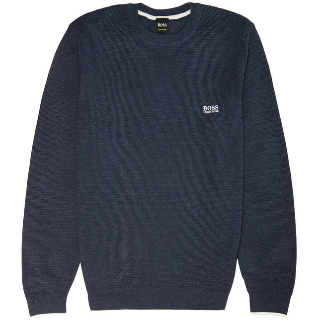 BOSS Athleisure Ranja Cotton Knitted Crew Neck Jumper in Navy