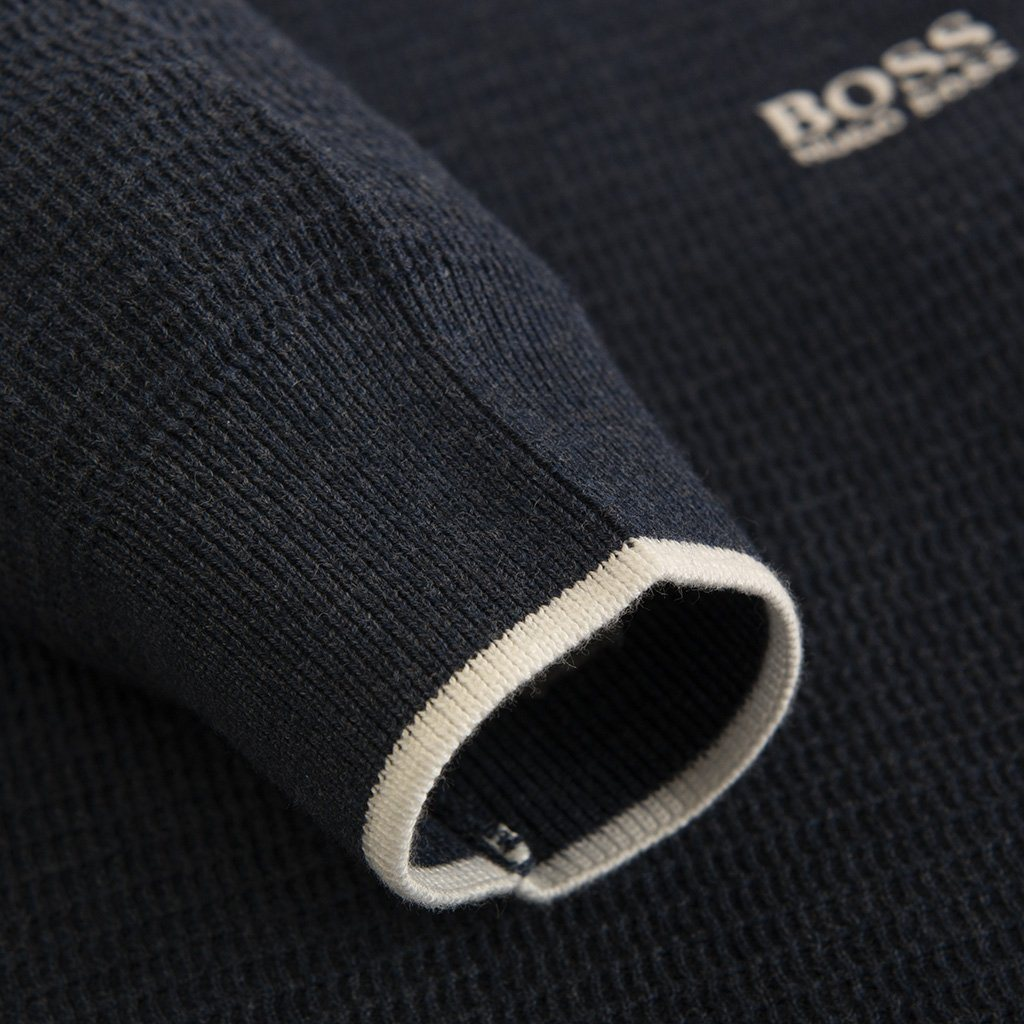 BOSS Athleisure Ranja Cotton Knitted Crew Neck Jumper in Navy Jumpers BOSS