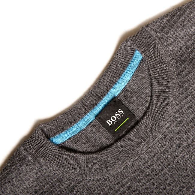 BOSS Athleisure Ranja Cotton Knitted Crew Neck Jumper in Grey