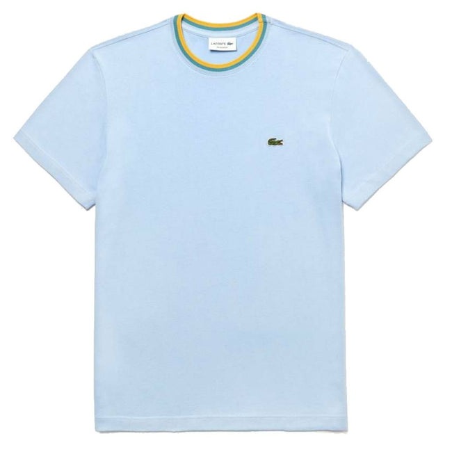 Lacoste TH4247-G5J Striped Crew Neck Cotton Jersey T-shirt in Light Blue