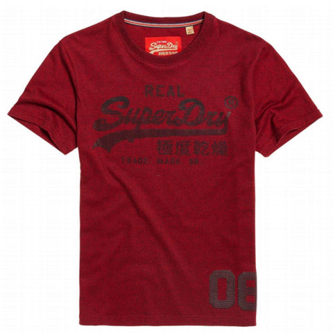 Superdry Vintage Logo CNY Tee in Red Hook Grit T-Shirts Superdry
