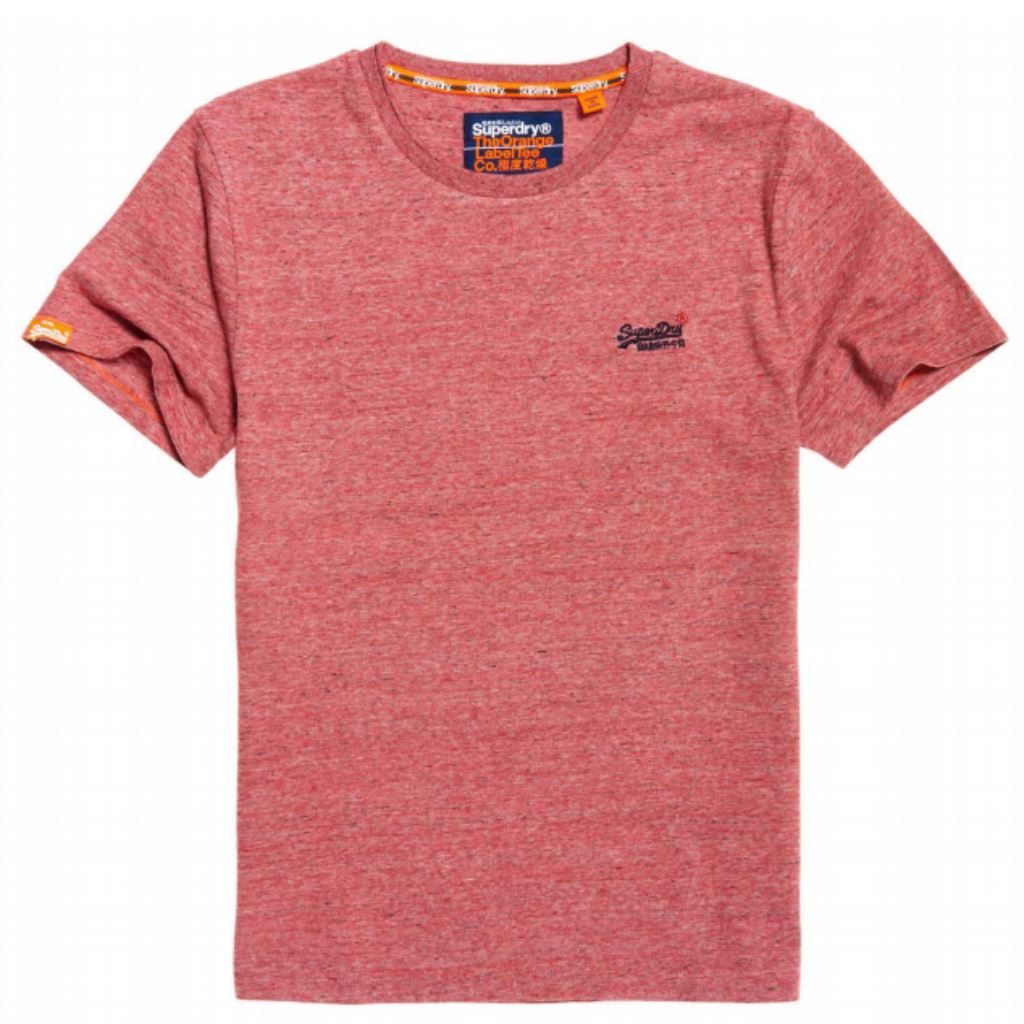 Superdry Orange Label Vintage EMB S/S Tee in Red Feeder Grit T-Shirts Superdry