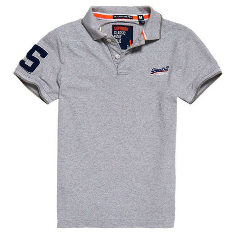 Superdry Classic S/S Pique Polo in Optic Grey Grit Feeder Polo Shirts Superdry