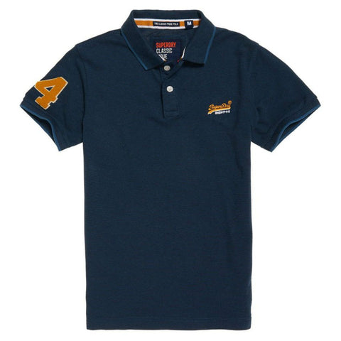 Superdry Classic S/S Pique Polo in Abyss Navy Feeder Polo Shirts Superdry