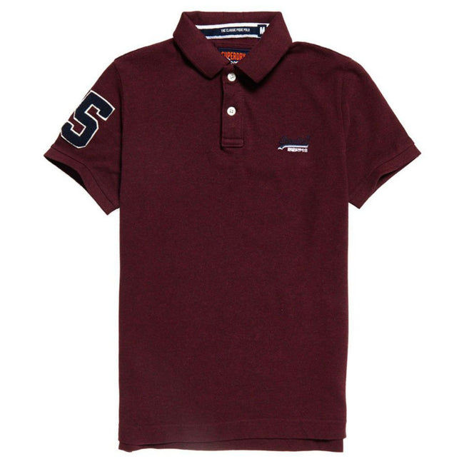 Superdry Classic S/S Pique Polo in Boston Burgundy Marl