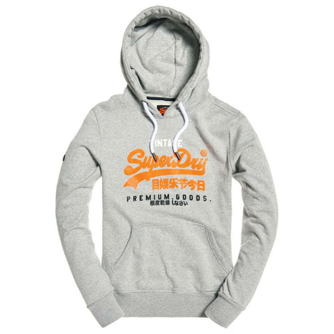 Superdry Premium Goods Tri Infill Hood in Varsity Grey Grit Hoodies Superdry